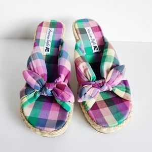 American Eagle Plaid Bow Wedge Espedrille Sandal